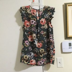 Faith and Joy Green Floral Top Flutter Sleeves